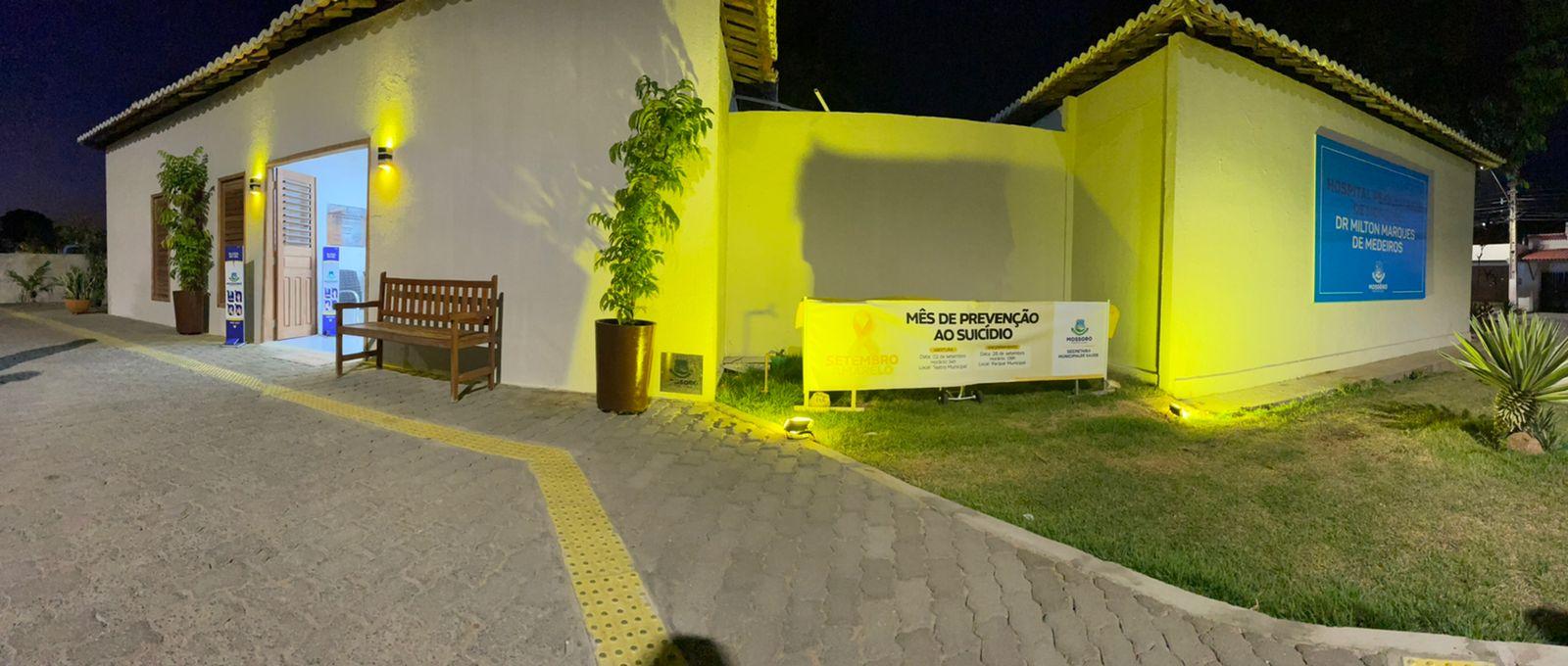 """Hospital Psiquiátrico Municipal recebe iluminação especial neste """"Setembro Amarelo"""""""